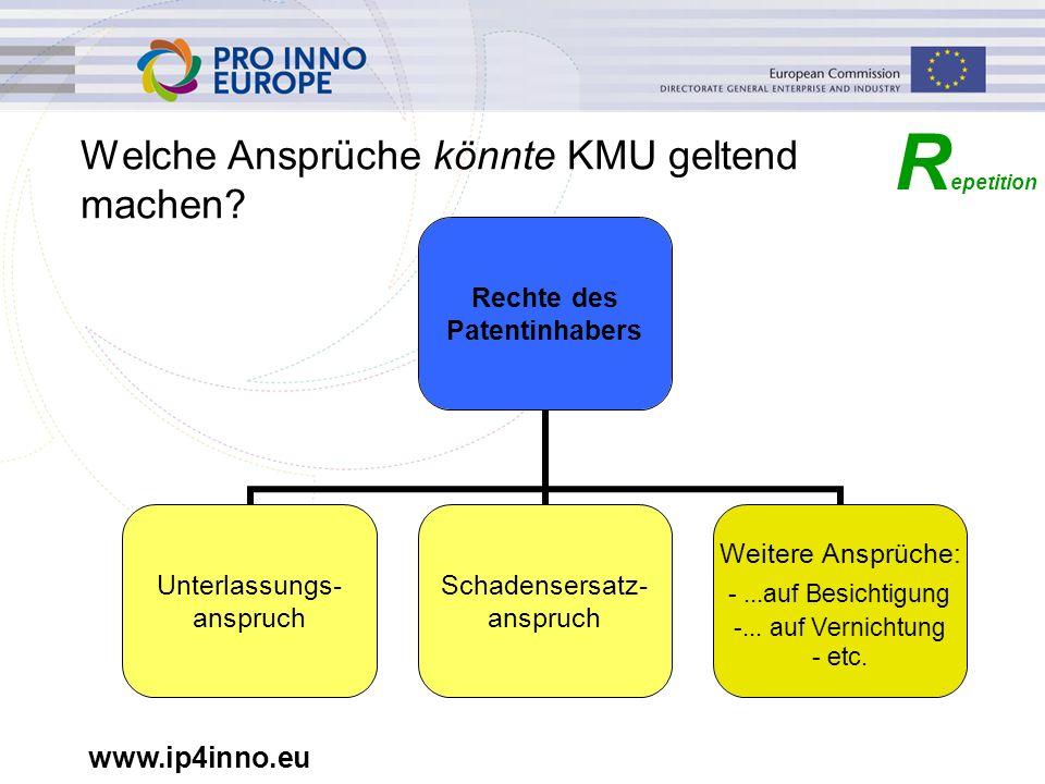 www.ip4inno.eu Welche Ansprüche könnte KMU geltend machen? R epetition Rechte des Patentinhabers Unterlassungs- anspruch Schadensersatz- anspruch Weit
