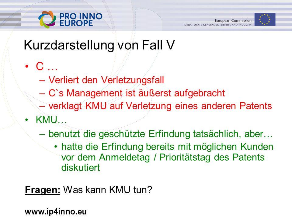 www.ip4inno.eu Kurzdarstellung von Fall V C … –Verliert den Verletzungsfall –C`s Management ist äußerst aufgebracht –verklagt KMU auf Verletzung eines
