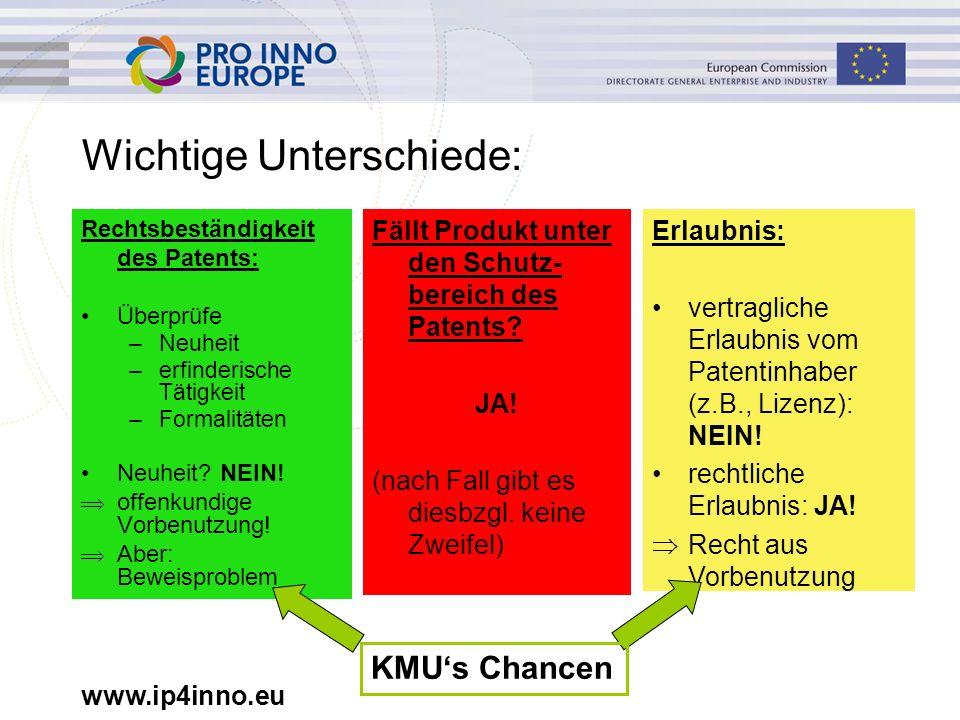 www.ip4inno.eu Wichtige Unterschiede: Rechtsbeständigkeit des Patents: Überprüfe –Neuheit –erfinderische Tätigkeit –Formalitäten Neuheit? NEIN!  offe