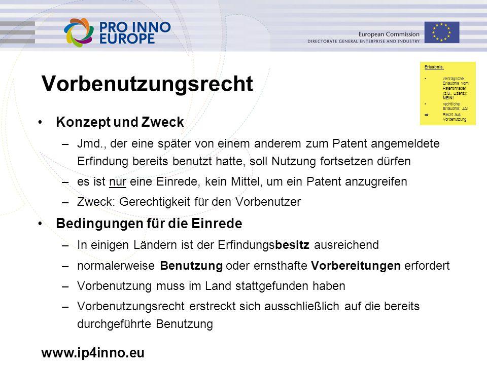 www.ip4inno.eu Vorbenutzungsrecht Konzept und Zweck –Jmd., der eine später von einem anderem zum Patent angemeldete Erfindung bereits benutzt hatte, s