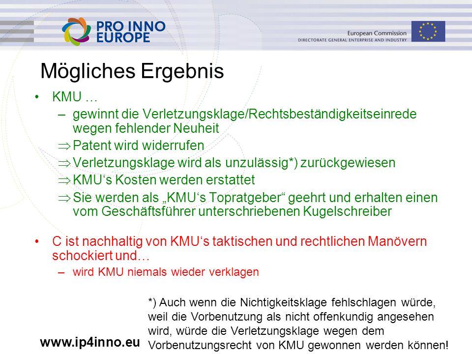 www.ip4inno.eu Mögliches Ergebnis KMU … –gewinnt die Verletzungsklage/Rechtsbeständigkeitseinrede wegen fehlender Neuheit  Patent wird widerrufen  V