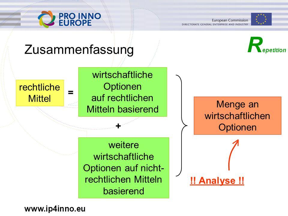 www.ip4inno.eu R epetition Zusammenfassung rechtliche Mittel = wirtschaftliche Optionen auf rechtlichen Mitteln basierend + weitere wirtschaftliche Op