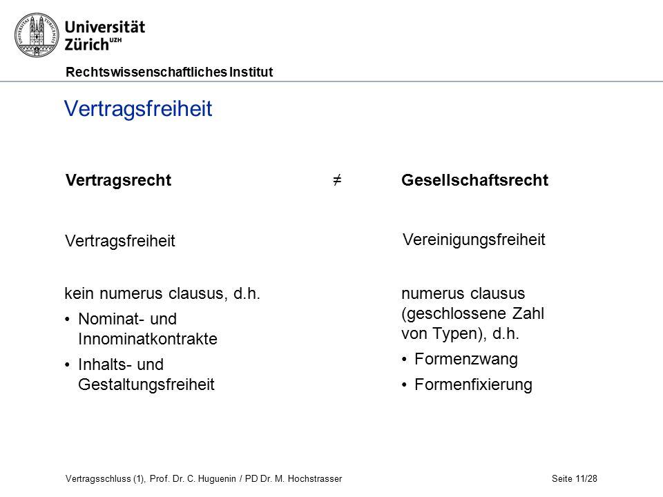 Rechtswissenschaftliches Institut Vertragsschluss (1), Prof.
