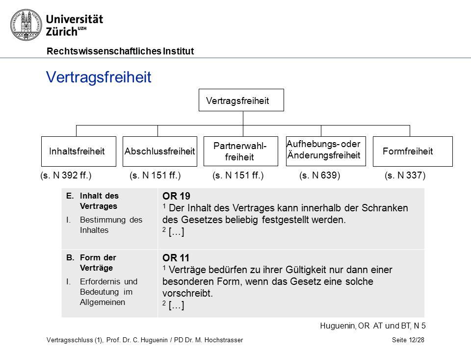 Rechtswissenschaftliches Institut Seite 12/28 Huguenin, OR AT und BT, N 5 Vertragsfreiheit InhaltsfreiheitAbschlussfreiheit (s.