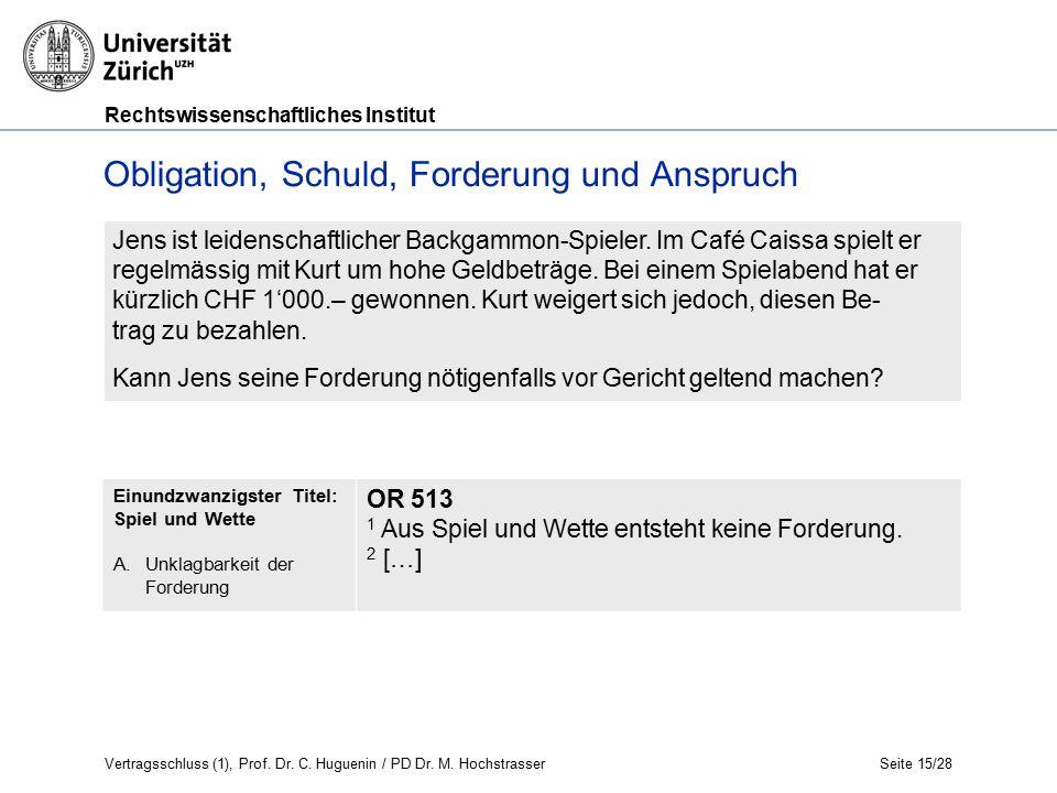 Rechtswissenschaftliches Institut Seite 15/28 Obligation, Schuld, Forderung und Anspruch Jens ist leidenschaftlicher Backgammon-Spieler.