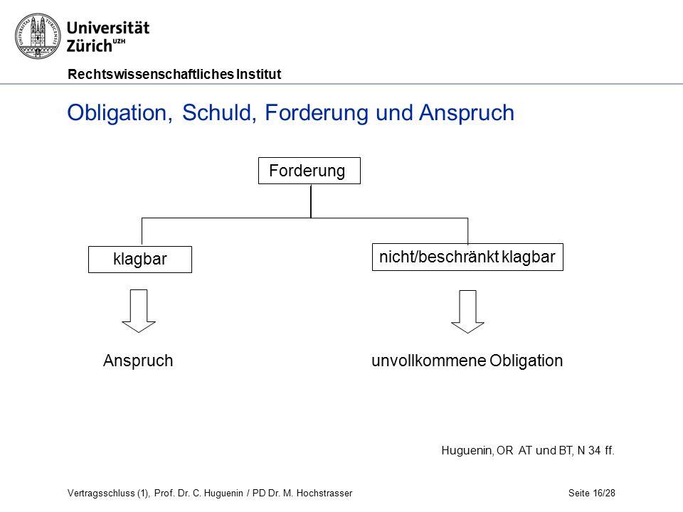 Rechtswissenschaftliches Institut Seite 16/28 Huguenin, OR AT und BT, N 34 ff.