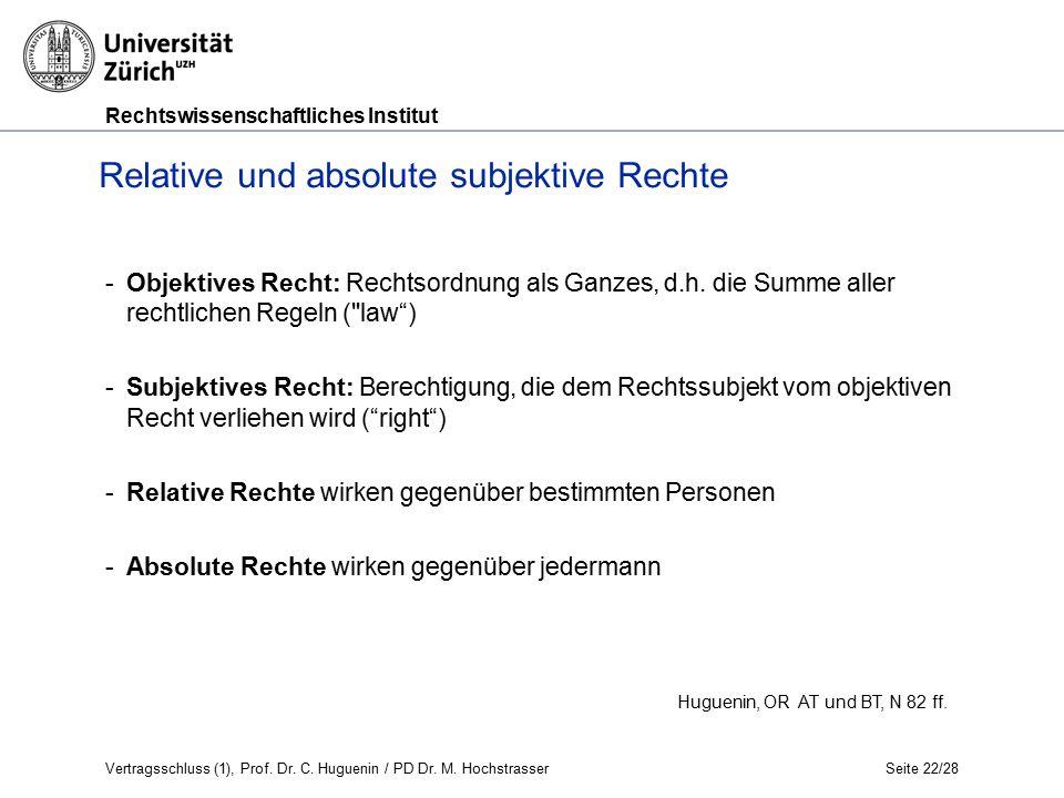 Rechtswissenschaftliches Institut Seite 22/28 -Objektives Recht: Rechtsordnung als Ganzes, d.h.