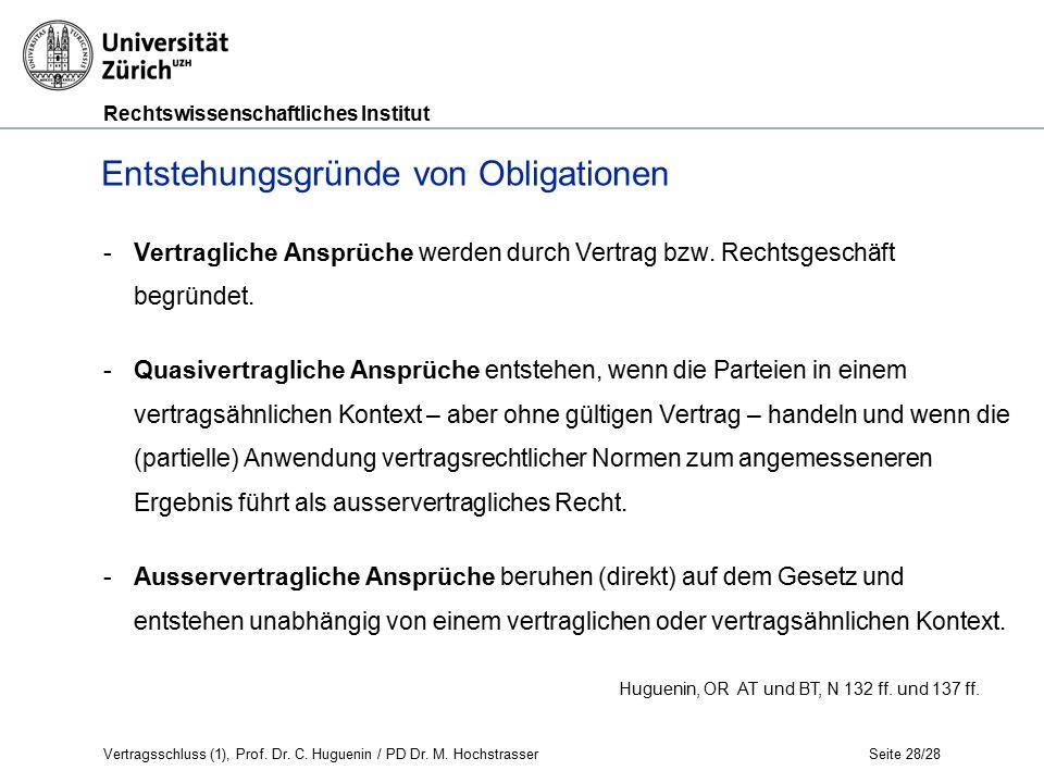 Rechtswissenschaftliches Institut Seite 28/28 -Vertragliche Ansprüche werden durch Vertrag bzw.