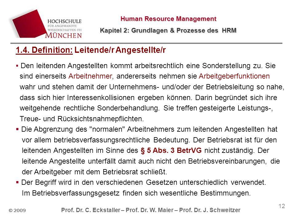 © 2009 Prof. Dr. C. Eckstaller – Prof. Dr. W. Maier – Prof. Dr. J. Schweitzer Human Resource Management Kapitel 2: Grundlagen & Prozesse des HRM 12 1.