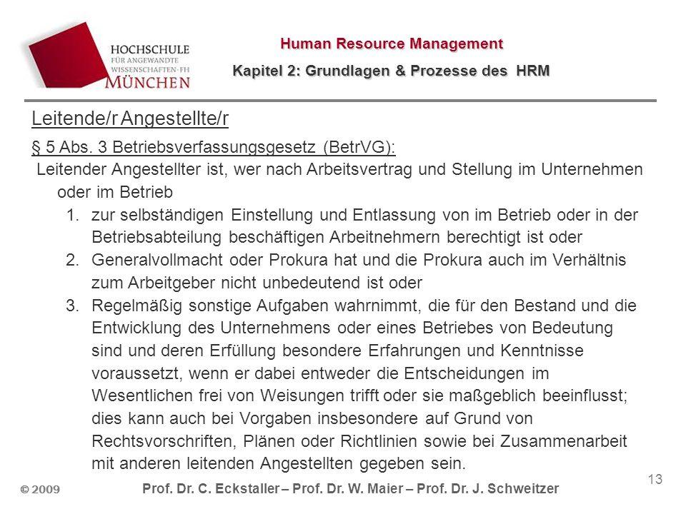 © 2009 Prof. Dr. C. Eckstaller – Prof. Dr. W. Maier – Prof. Dr. J. Schweitzer Human Resource Management Kapitel 2: Grundlagen & Prozesse des HRM 13 Le