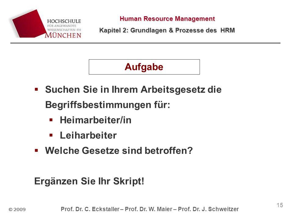 © 2009 Prof. Dr. C. Eckstaller – Prof. Dr. W. Maier – Prof. Dr. J. Schweitzer Human Resource Management Kapitel 2: Grundlagen & Prozesse des HRM 15 