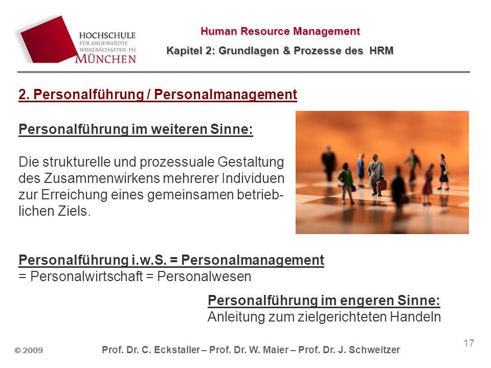 © 2009 Prof. Dr. C. Eckstaller – Prof. Dr. W. Maier – Prof. Dr. J. Schweitzer Human Resource Management Kapitel 2: Grundlagen & Prozesse des HRM 17 2.