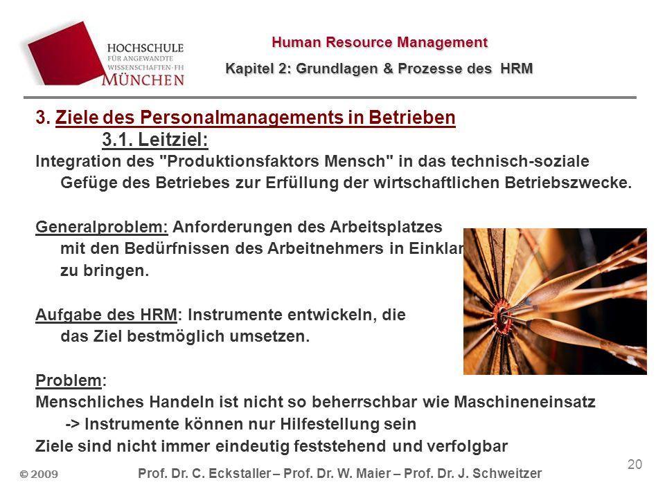 © 2009 Prof. Dr. C. Eckstaller – Prof. Dr. W. Maier – Prof. Dr. J. Schweitzer Human Resource Management Kapitel 2: Grundlagen & Prozesse des HRM 20 3.