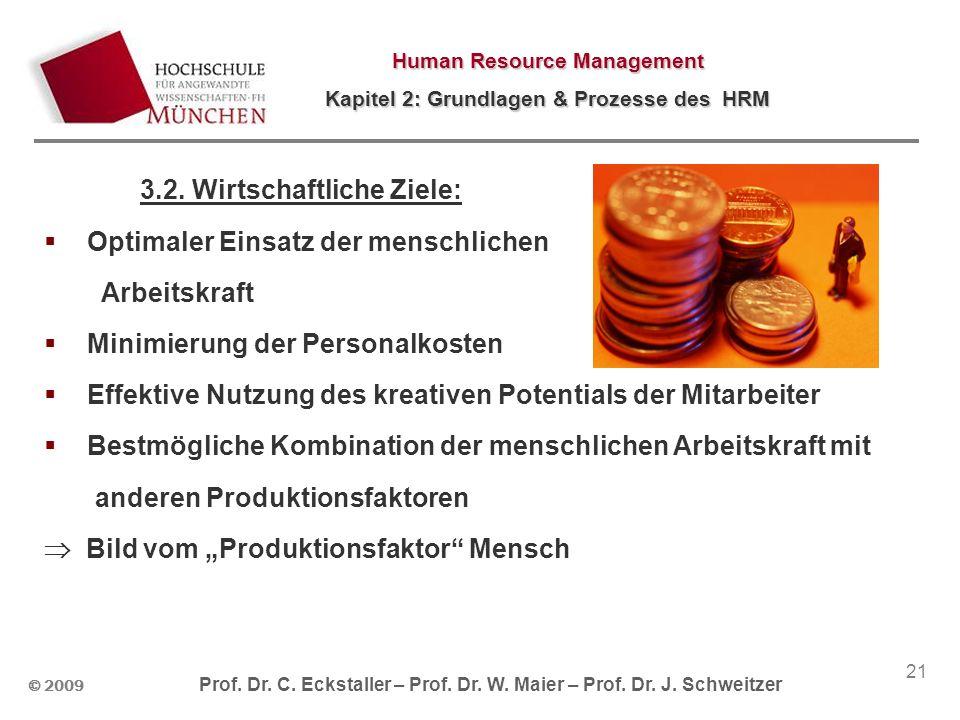 © 2009 Prof. Dr. C. Eckstaller – Prof. Dr. W. Maier – Prof. Dr. J. Schweitzer Human Resource Management Kapitel 2: Grundlagen & Prozesse des HRM 21 3.