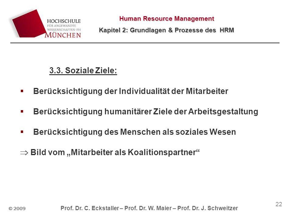 © 2009 Prof. Dr. C. Eckstaller – Prof. Dr. W. Maier – Prof. Dr. J. Schweitzer Human Resource Management Kapitel 2: Grundlagen & Prozesse des HRM 22 3.
