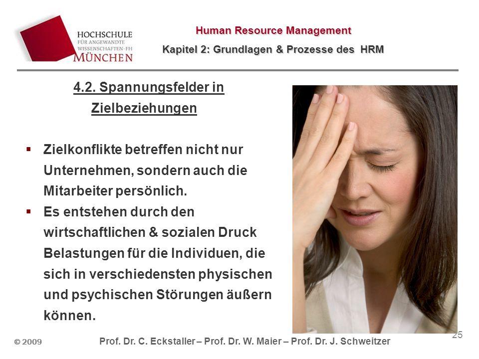 © 2009 Prof. Dr. C. Eckstaller – Prof. Dr. W. Maier – Prof. Dr. J. Schweitzer Human Resource Management Kapitel 2: Grundlagen & Prozesse des HRM 25 4.