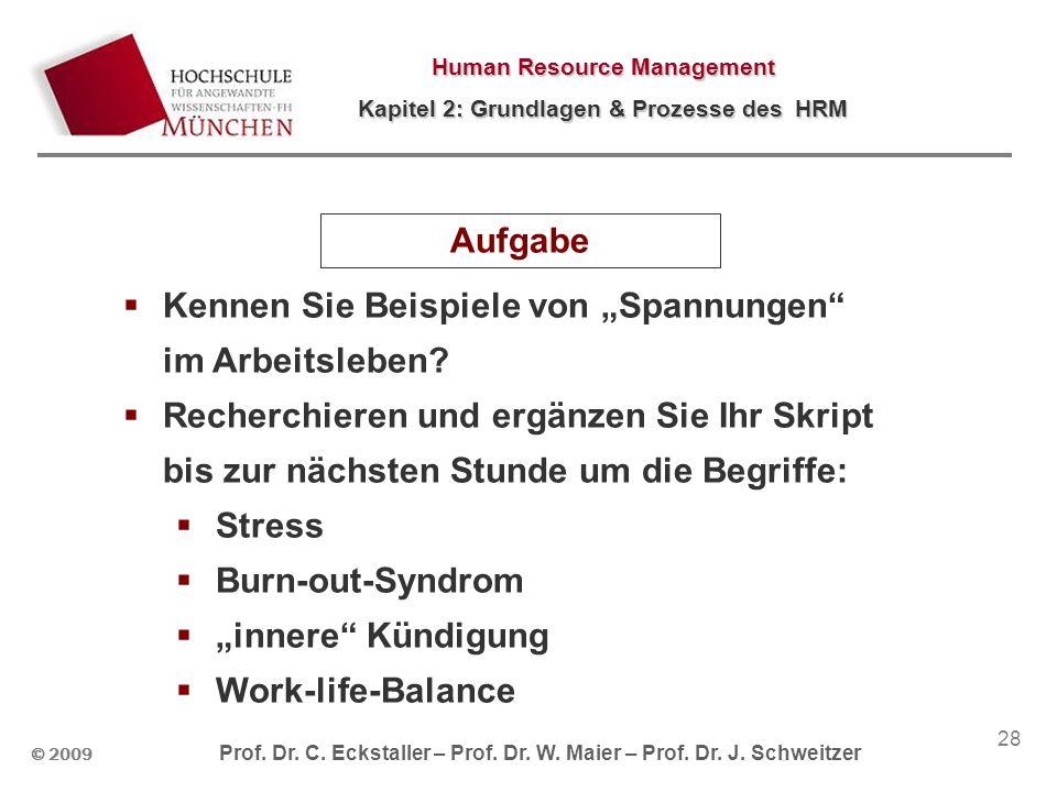 © 2009 Prof. Dr. C. Eckstaller – Prof. Dr. W. Maier – Prof. Dr. J. Schweitzer Human Resource Management Kapitel 2: Grundlagen & Prozesse des HRM 28 