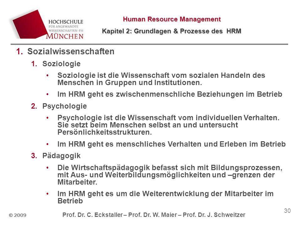 © 2009 Prof. Dr. C. Eckstaller – Prof. Dr. W. Maier – Prof. Dr. J. Schweitzer Human Resource Management Kapitel 2: Grundlagen & Prozesse des HRM 30 1.