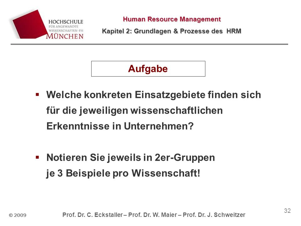 © 2009 Prof. Dr. C. Eckstaller – Prof. Dr. W. Maier – Prof. Dr. J. Schweitzer Human Resource Management Kapitel 2: Grundlagen & Prozesse des HRM 32 