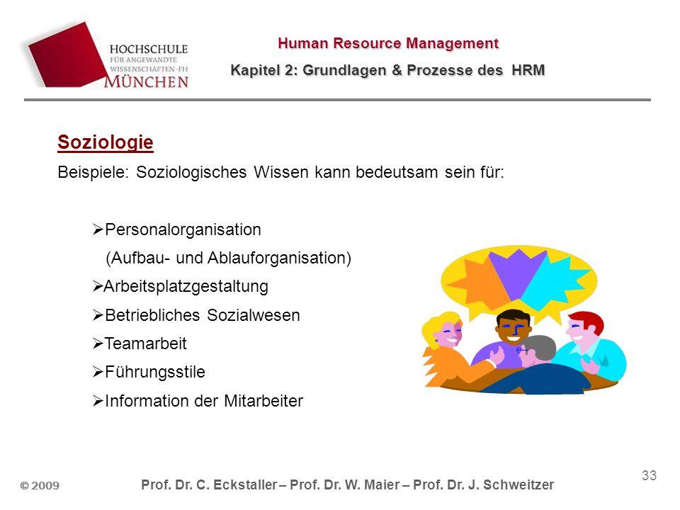 © 2009 Prof. Dr. C. Eckstaller – Prof. Dr. W. Maier – Prof. Dr. J. Schweitzer Human Resource Management Kapitel 2: Grundlagen & Prozesse des HRM 33 So