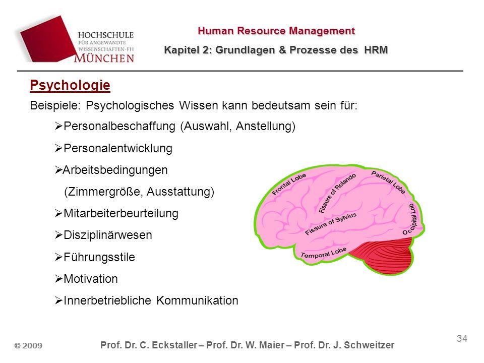 © 2009 Prof. Dr. C. Eckstaller – Prof. Dr. W. Maier – Prof. Dr. J. Schweitzer Human Resource Management Kapitel 2: Grundlagen & Prozesse des HRM 34 Ps