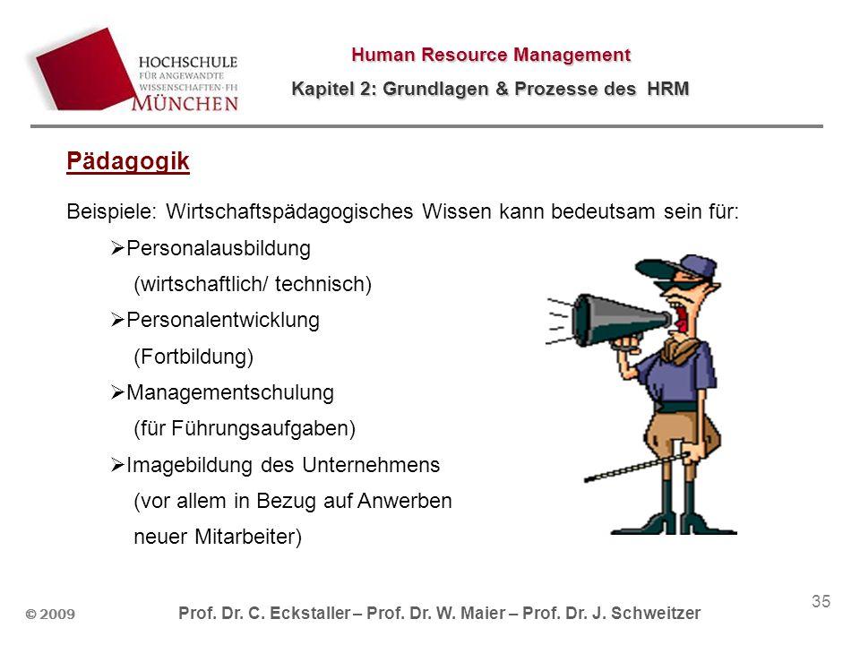 © 2009 Prof. Dr. C. Eckstaller – Prof. Dr. W. Maier – Prof. Dr. J. Schweitzer Human Resource Management Kapitel 2: Grundlagen & Prozesse des HRM 35 Pä