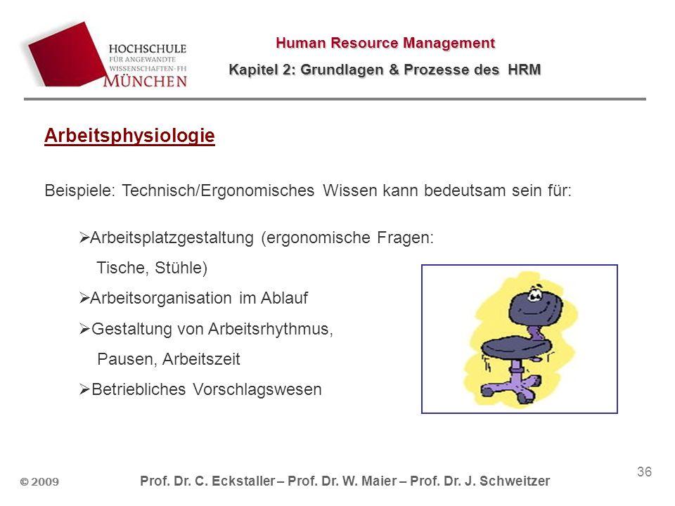© 2009 Prof. Dr. C. Eckstaller – Prof. Dr. W. Maier – Prof. Dr. J. Schweitzer Human Resource Management Kapitel 2: Grundlagen & Prozesse des HRM 36 Ar