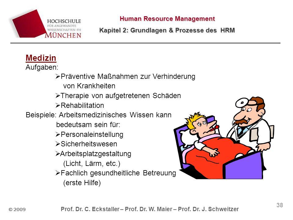 © 2009 Prof. Dr. C. Eckstaller – Prof. Dr. W. Maier – Prof. Dr. J. Schweitzer Human Resource Management Kapitel 2: Grundlagen & Prozesse des HRM 38 Me