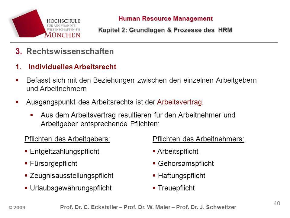 © 2009 Prof. Dr. C. Eckstaller – Prof. Dr. W. Maier – Prof. Dr. J. Schweitzer Human Resource Management Kapitel 2: Grundlagen & Prozesse des HRM 40 3.