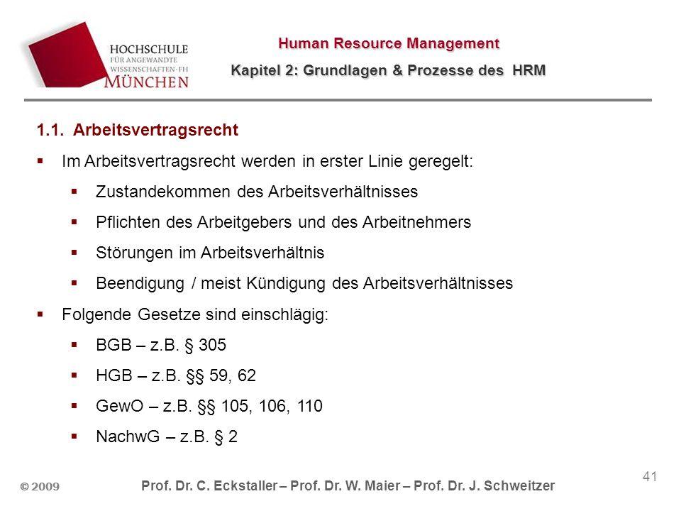 © 2009 Prof. Dr. C. Eckstaller – Prof. Dr. W. Maier – Prof. Dr. J. Schweitzer Human Resource Management Kapitel 2: Grundlagen & Prozesse des HRM 41 1.
