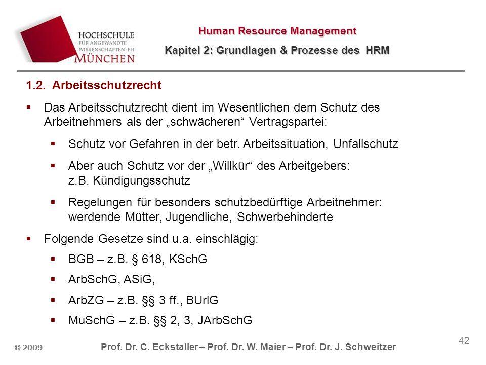 © 2009 Prof. Dr. C. Eckstaller – Prof. Dr. W. Maier – Prof. Dr. J. Schweitzer Human Resource Management Kapitel 2: Grundlagen & Prozesse des HRM 42 1.