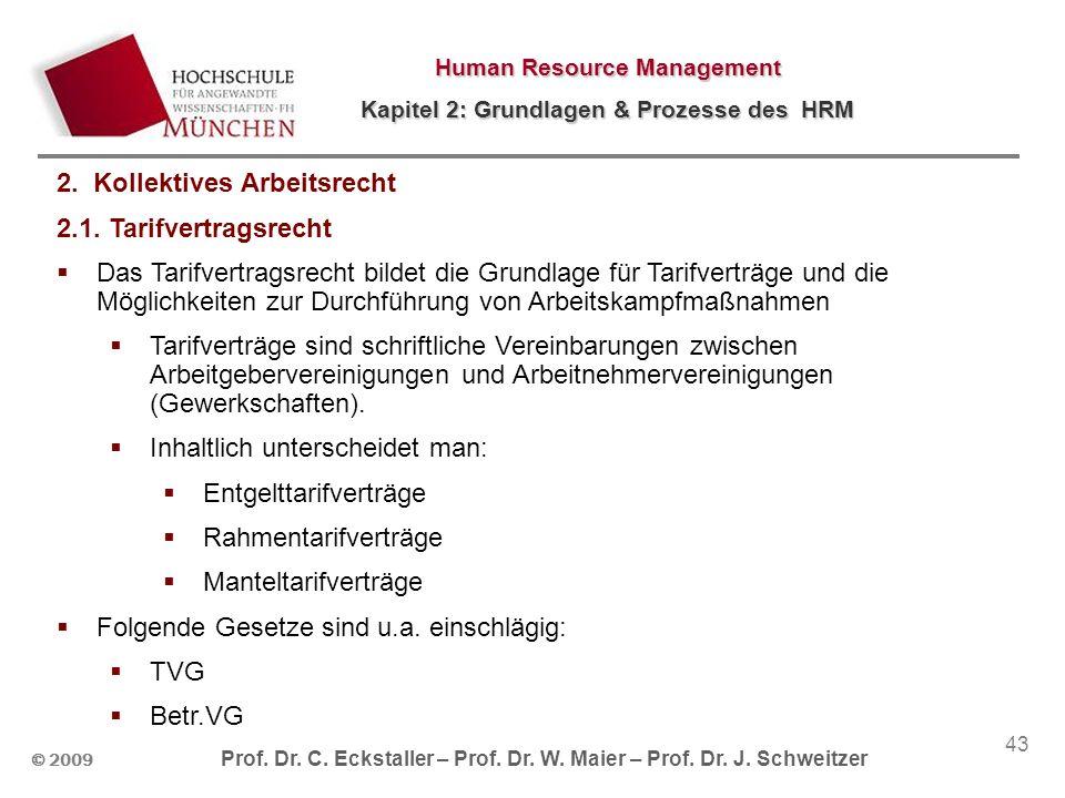 © 2009 Prof. Dr. C. Eckstaller – Prof. Dr. W. Maier – Prof. Dr. J. Schweitzer Human Resource Management Kapitel 2: Grundlagen & Prozesse des HRM 43 2.