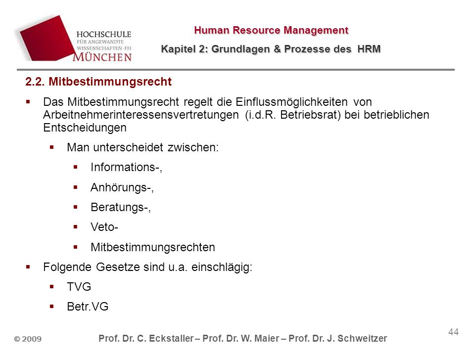 © 2009 Prof. Dr. C. Eckstaller – Prof. Dr. W. Maier – Prof. Dr. J. Schweitzer Human Resource Management Kapitel 2: Grundlagen & Prozesse des HRM 44 2.