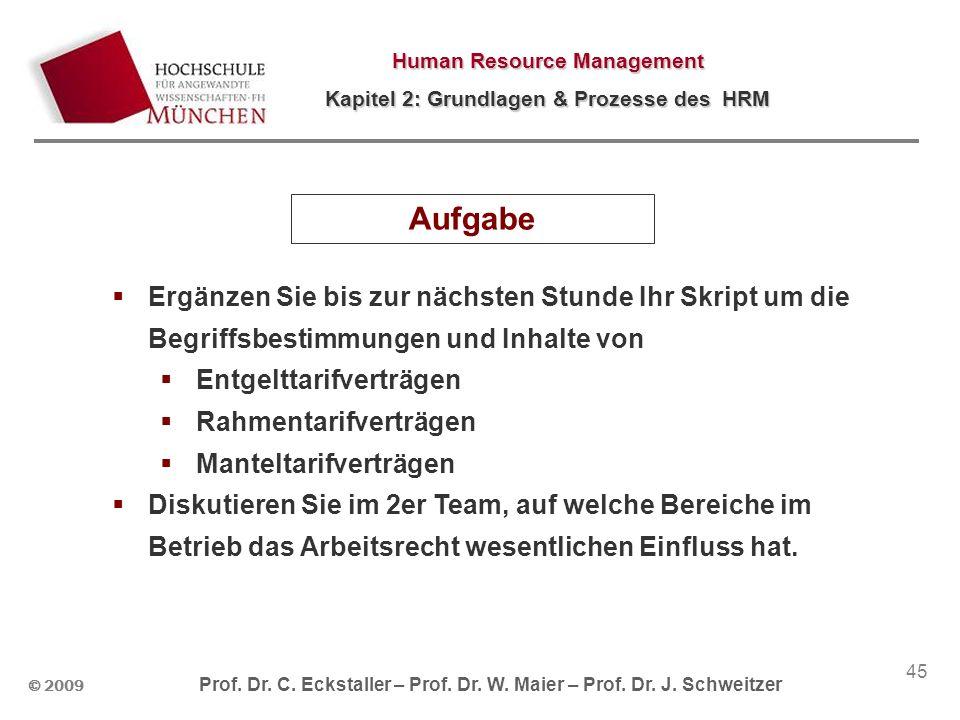 © 2009 Prof. Dr. C. Eckstaller – Prof. Dr. W. Maier – Prof. Dr. J. Schweitzer Human Resource Management Kapitel 2: Grundlagen & Prozesse des HRM 45 