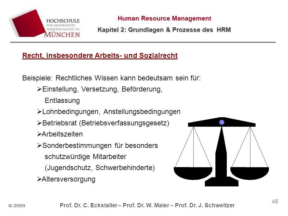 © 2009 Prof. Dr. C. Eckstaller – Prof. Dr. W. Maier – Prof. Dr. J. Schweitzer Human Resource Management Kapitel 2: Grundlagen & Prozesse des HRM 46 Re