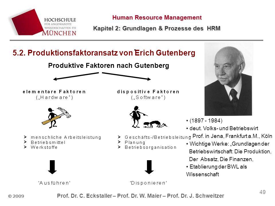 © 2009 Prof. Dr. C. Eckstaller – Prof. Dr. W. Maier – Prof. Dr. J. Schweitzer Human Resource Management Kapitel 2: Grundlagen & Prozesse des HRM 49 Pr