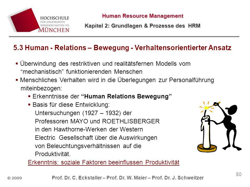 © 2009 Prof. Dr. C. Eckstaller – Prof. Dr. W. Maier – Prof. Dr. J. Schweitzer Human Resource Management Kapitel 2: Grundlagen & Prozesse des HRM 50 5.