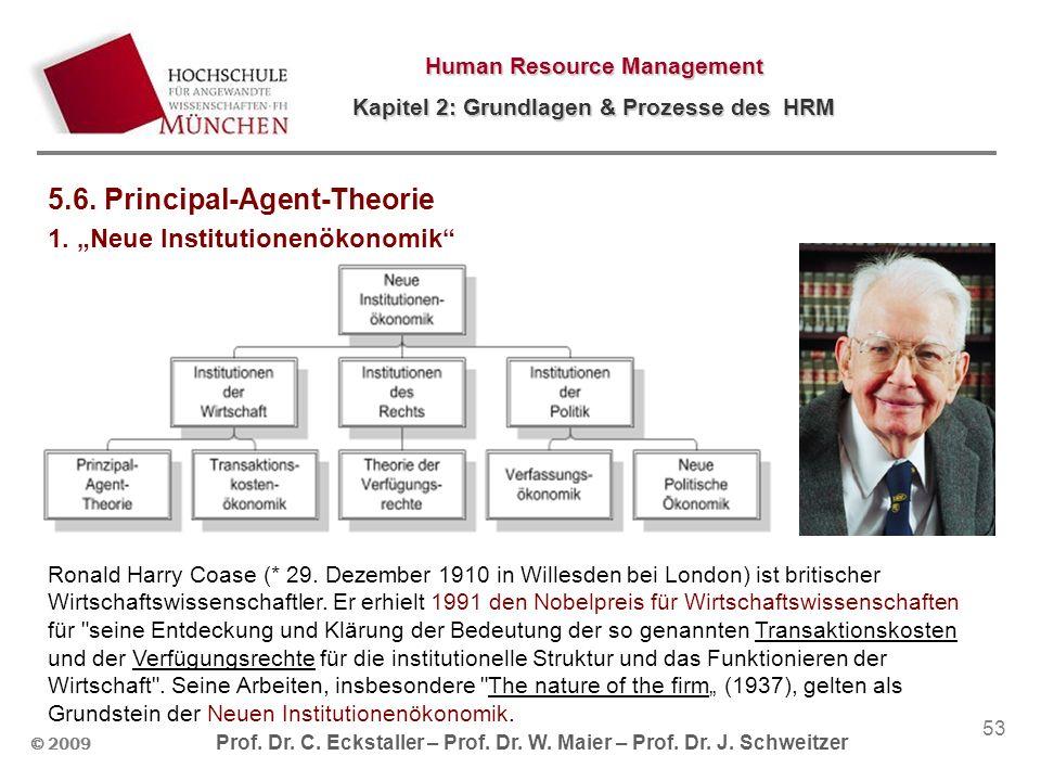 © 2009 Prof. Dr. C. Eckstaller – Prof. Dr. W. Maier – Prof. Dr. J. Schweitzer Human Resource Management Kapitel 2: Grundlagen & Prozesse des HRM 53 5.