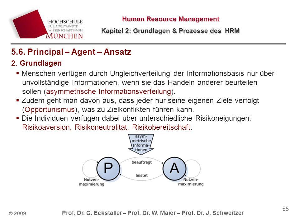 © 2009 Prof. Dr. C. Eckstaller – Prof. Dr. W. Maier – Prof. Dr. J. Schweitzer Human Resource Management Kapitel 2: Grundlagen & Prozesse des HRM 55 5.