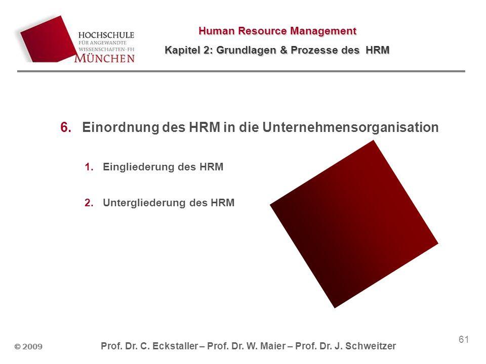 © 2009 Prof. Dr. C. Eckstaller – Prof. Dr. W. Maier – Prof. Dr. J. Schweitzer Human Resource Management Kapitel 2: Grundlagen & Prozesse des HRM 61 6.