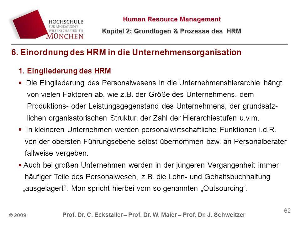 © 2009 Prof. Dr. C. Eckstaller – Prof. Dr. W. Maier – Prof. Dr. J. Schweitzer Human Resource Management Kapitel 2: Grundlagen & Prozesse des HRM 62 1.