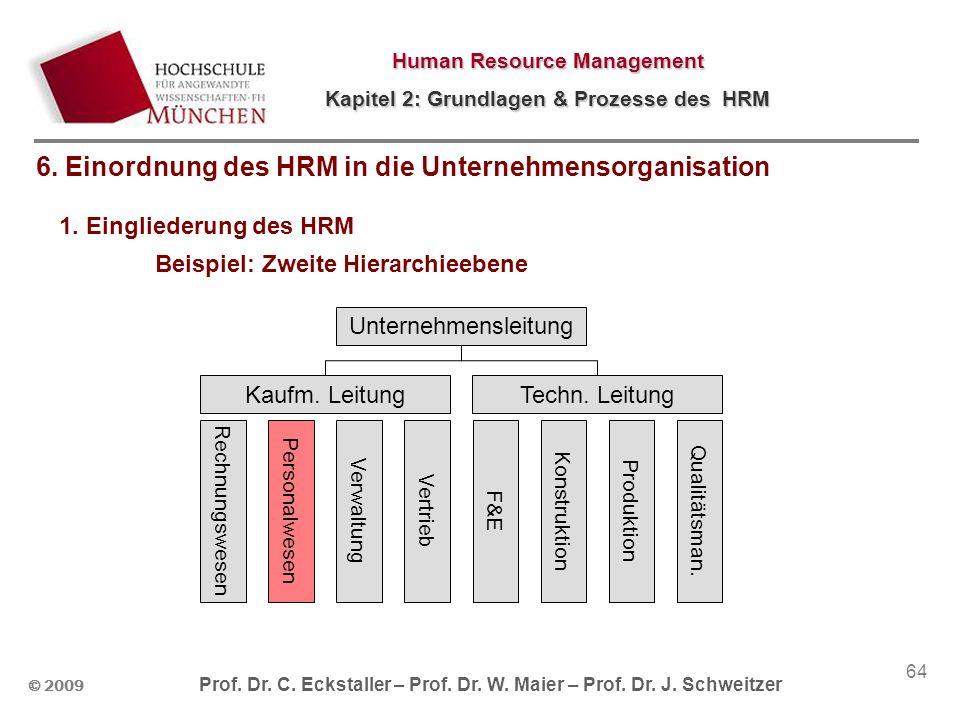 © 2009 Prof. Dr. C. Eckstaller – Prof. Dr. W. Maier – Prof. Dr. J. Schweitzer Human Resource Management Kapitel 2: Grundlagen & Prozesse des HRM 64 1.