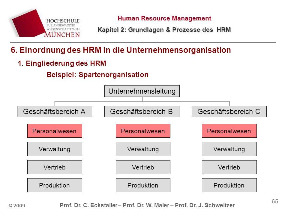 © 2009 Prof. Dr. C. Eckstaller – Prof. Dr. W. Maier – Prof. Dr. J. Schweitzer Human Resource Management Kapitel 2: Grundlagen & Prozesse des HRM 65 1.
