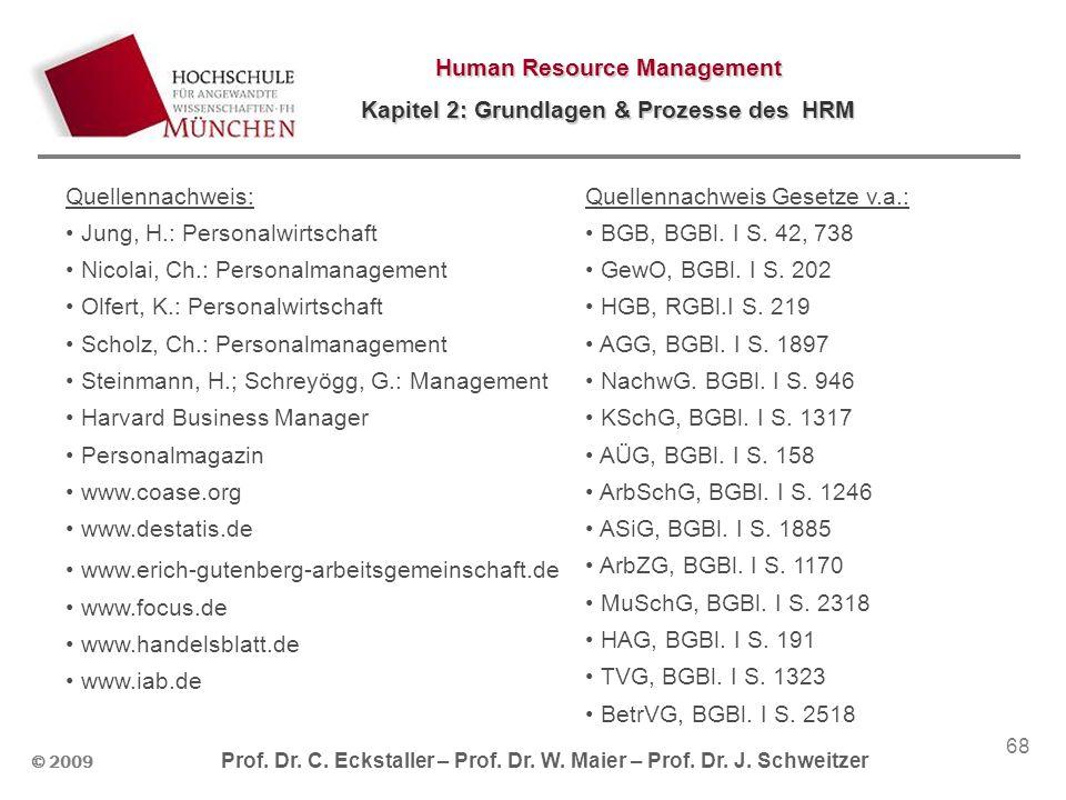 © 2009 Prof. Dr. C. Eckstaller – Prof. Dr. W. Maier – Prof. Dr. J. Schweitzer Human Resource Management Kapitel 2: Grundlagen & Prozesse des HRM 68 Qu