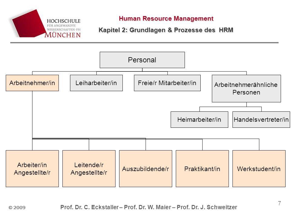 © 2009 Prof. Dr. C. Eckstaller – Prof. Dr. W. Maier – Prof. Dr. J. Schweitzer Human Resource Management Kapitel 2: Grundlagen & Prozesse des HRM 7 Per