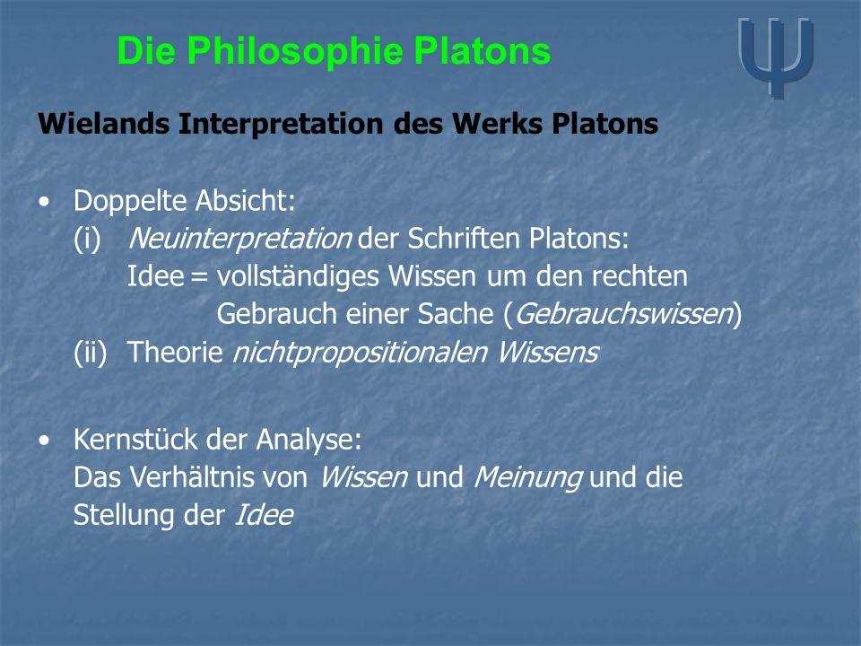 Die Philosophie Platons Wielands Interpretation des Werks Platons Doppelte Absicht: (i) Neuinterpretation der Schriften Platons: Idee=vollständiges Wi