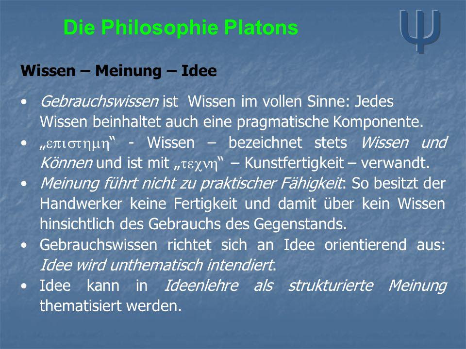 Die Philosophie Platons Wissen – Meinung – Idee Gebrauchswissen ist Wissen im vollen Sinne: Jedes Wissen beinhaltet auch eine pragmatische Komponente.