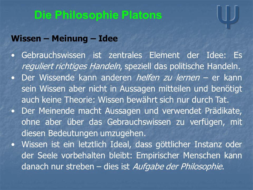 Die Philosophie Platons Wissen – Meinung – Idee Gebrauchswissen ist zentrales Element der Idee: Es reguliert richtiges Handeln, speziell das politisch