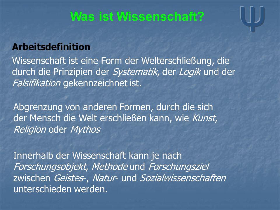 Arbeitsdefinition Wissenschaft ist eine Form der Welterschließung, die durch die Prinzipien der Systematik, der Logik und der Falsifikation gekennzeichnet ist.
