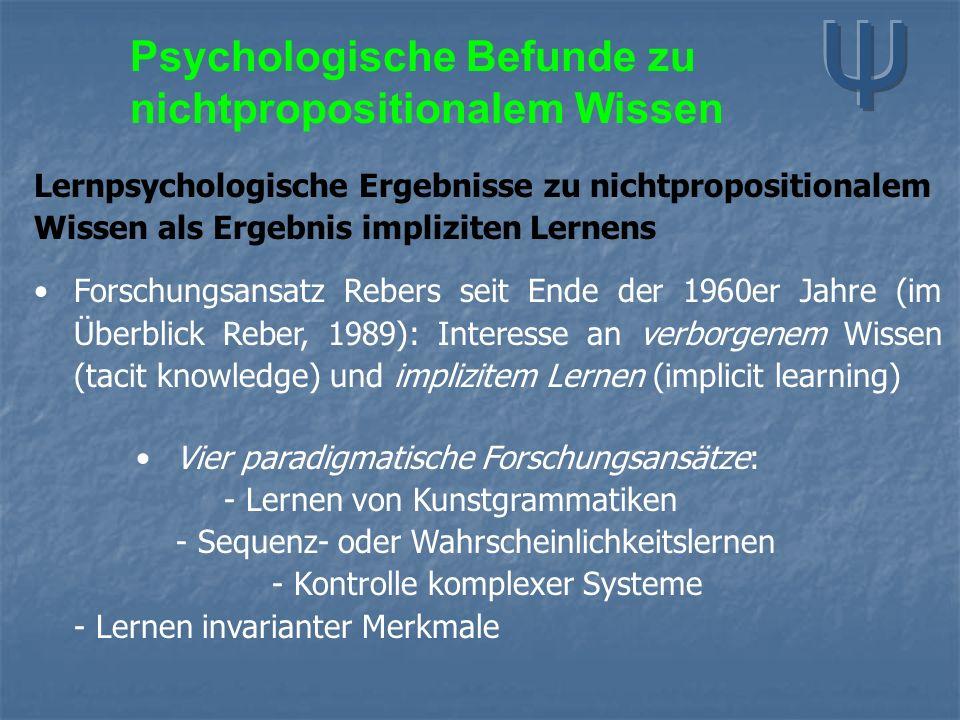 Psychologische Befunde zu nichtpropositionalem Wissen Lernpsychologische Ergebnisse zu nichtpropositionalem Wissen als Ergebnis impliziten Lernens For